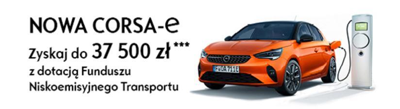 Nowa Corsa-e w opel AutoŻoliborz. Zyskaj do 37500zł z dotacją Funduszu Niskoemisyjnego Transportu.