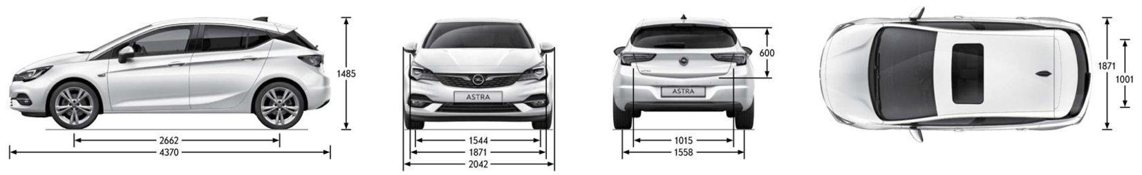 Opel Astra - wymiary