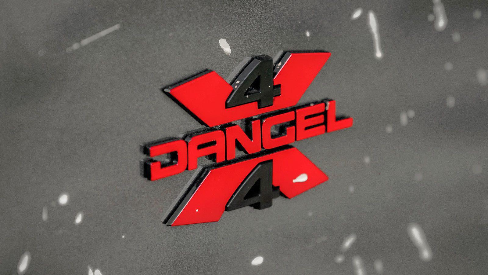 Napis 4x4 Dangel tylna klapa, lakier grafitowy metalik