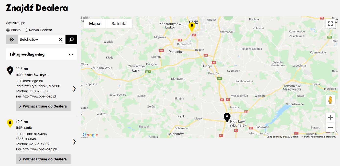 Znajdź dealera Opel Bełchatów