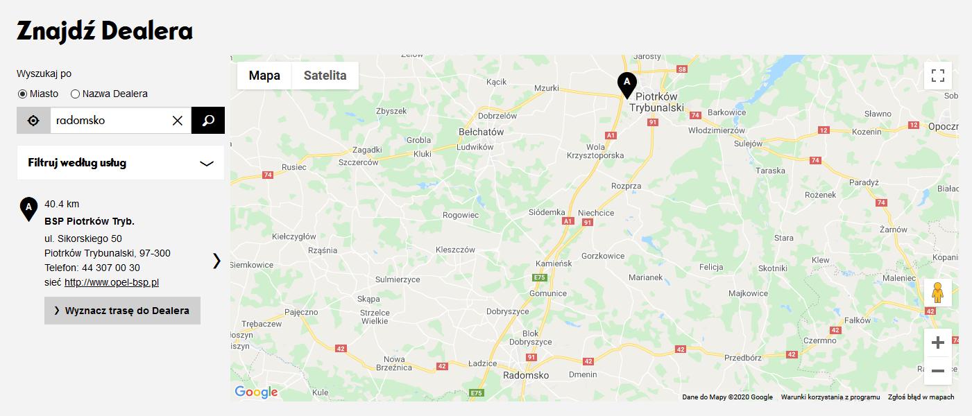 Mapa Opel Radomsko