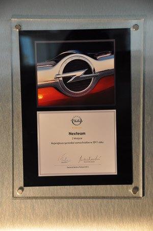 II miejsce Największa Sprzedaż Samochodów w 2011 - Opel Poland