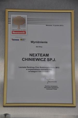 Laureat Rankingu Firm Rodzinnych Roku 2012 w woj. mazowieckiem w kategorii firm średnich - wyróżnienie Newsweek Polska